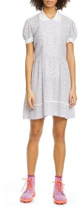Anna Sui Dandelion Print Button Front Babydoll Dress