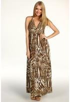 Lucky Brand Brigette Halter Maxi Dress (Khaki Multi) - Apparel