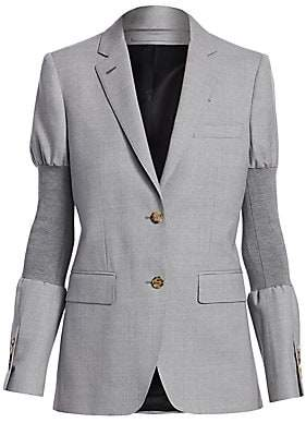 Burberry Women's Ribbed Arm-Band Wool Jacket