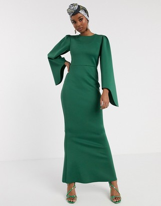 ASOS DESIGN fluted long sleeve maxi dress in green