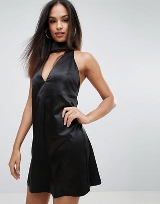 Rare London Choker Neck Skater Dress-Black