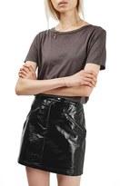 Topshop Slick Coated Miniskirt