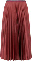 Leur Logette Pink Satin Pleated Midi Skirt