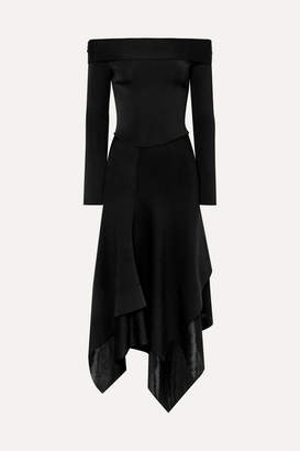 Victoria Beckham Off-the-shoulder Asymmetric Stretch-knit Midi Dress - Black
