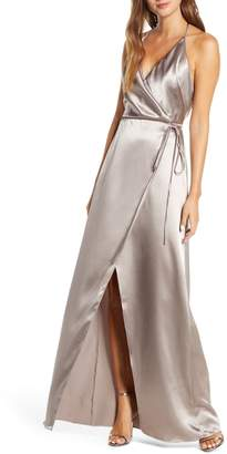 Jenny Yoo Collection Lana Crepe Back Satin Faux Wrap Evening Gown