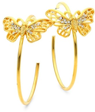 Kenneth Jay Lane 22K Goldplated & Crystal Butterfly Medium Hoop Earrings