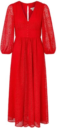 Monsoon Zinnia Lace Midi Dress - Red