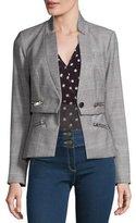 Veronica Beard Paloma Plaid Zipper Jacket, Black/White/Red