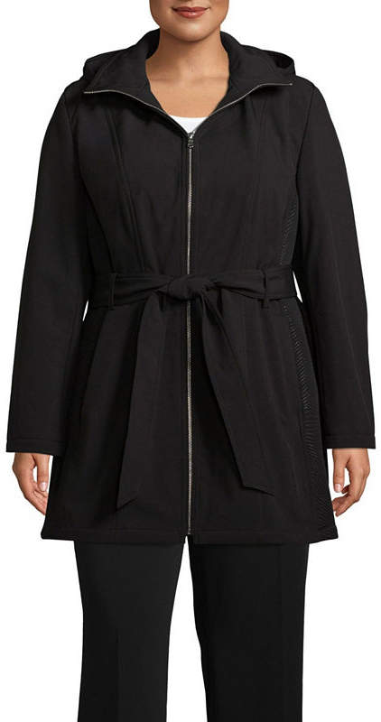 Hooded Belted Water Resistant Midweight Softshell Jacket-Plus