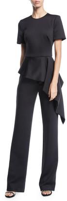 Black Halo Short-Sleeve Asymmetric Peplum Jumpsuit