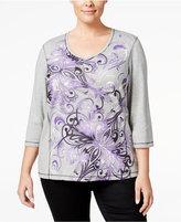 Karen Scott Plus Size Scroll-Print Top, Only at Macy's