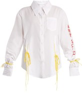 Art School - Acid Oversized Tie-side Cotton Shirt - Womens - White Multi