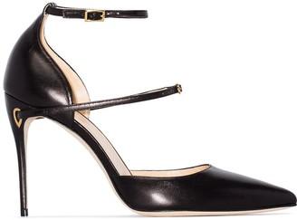 Jennifer Chamandi Black Enrico 105 leather pumps