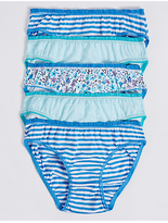 Marks and Spencer 5 Pack Pure Cotton Bikini Knickers (6-16 Years)