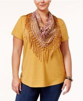 Style&Co. Style & Co Plus Size T-Shirt with Fringe Scarf