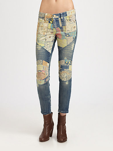 Current/Elliott The Moto Ankle Patchwork Skinny Jeans