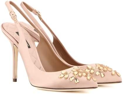 Dolce & Gabbana Bellucci embellished satin slingback pumps