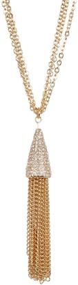 "Savvy Cie Multi Chain Crystal Tassel Necklace - 32"""