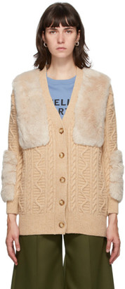 Stella McCartney Beige Faux Fur Cardigan