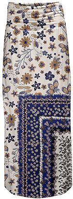 Lily Women's Maxi Skirts BRN - Beige & Blue Floral Maxi Skirt - Women & Plus