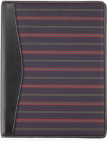 Neiman Marcus Striped Fabric Folio, Black