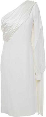 Antonio Berardi One-shoulder Satin-trimmed Cady Dress