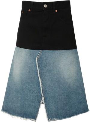 MM6 MAISON MARGIELA Two Tone High Waist Midi Denim Skirt