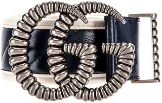 Gucci GG Marmont Leather Belt in Blue Agata & Mystic White   FWRD
