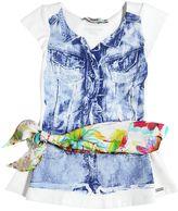 Junior Gaultier Printed Cotton Jersey Dress & Scarf Belt
