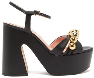 Rochas Beaded Leather Platform Sandals - Black Gold