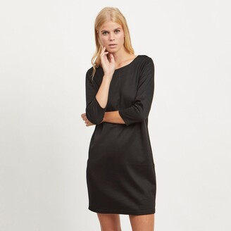 Vila Tunic Shift Dress with Boat Neck and 3/4 Length Sleeves