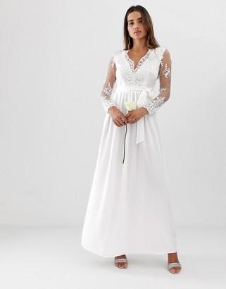 Club L London long sleeve lace applique wedding dress-White