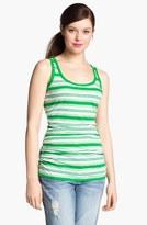 Caslon Shirred Side Tank White/ Green Fern Stripe Large