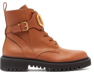 Valentino V-logo Leather Lace-up Boots - Tan