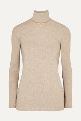 Brunello Cucinelli Bead-embellished Melange Stretch Cotton-jersey Turtleneck Top - Camel