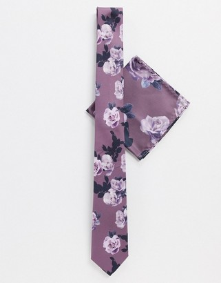 Twisted Tailor tie set with rose print in nude
