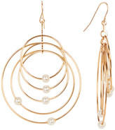 Stephan & Co Grand Oval Wire Simulated Pearl Earrings