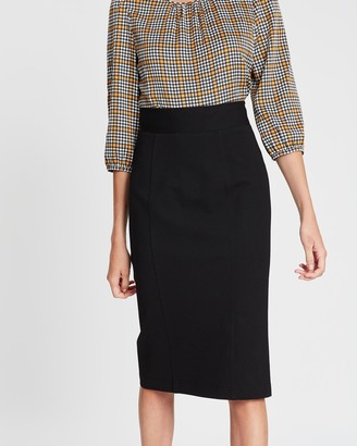 Review Women's Black Pencil skirts - Hepburn Ponte Midi Skirt - Size One Size, 6 at The Iconic
