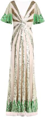 Temperley London Sycamore Paneled Sequined Tulle And Georgette Gown