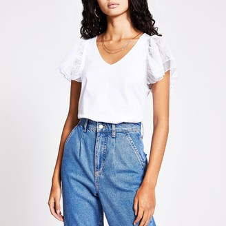 River Island Womens White mesh frill short sleeve V neck T-shirt