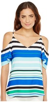 Calvin Klein Printed Cold Shoulder Flutter Sleeve Top Women's Clothing