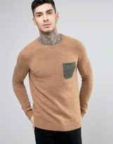 Asos Lambswool Rich Jumper With Contrast Woven Pocket