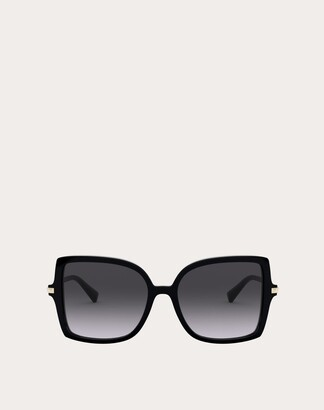 Valentino Squared Acetate Frame With Studs Women Black/gradient Black Acetate 100% OneSize