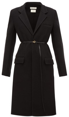 Bottega Veneta Single-breasted Belted Cashmere Coat - Black