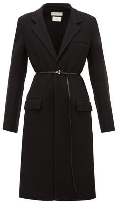 Bottega Veneta Single-breasted Belted Cashmere Coat - Womens - Black