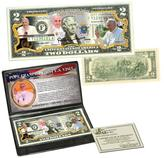 Pope Francis 2015 U.S. Visit Colorized $2 Bill with Story Card and Wallet Holder