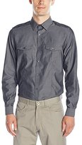 Calvin Klein Men's 2 Pocket Chambray Long Sleeve Button Down Shirt