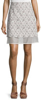 Giambattista Valli Floral Tweed Skirt with Organza Underlay, Pink/White