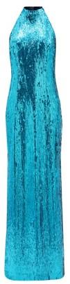 Galvan Oceana Halterneck Sequinned Dress - Blue