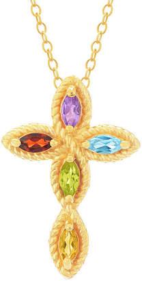 Silver Cross FINE JEWELRY Womens Genuine Multi Color Stone 18K Gold Over Pendant Necklace
